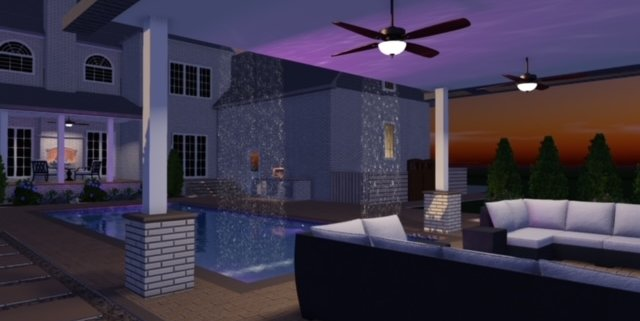 Creativescapes outdoor living area pool